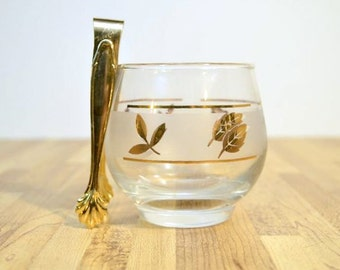 Mid Century Frosted Gold Leaf Foil Libbey Sugar Bowl with Coordinating Tongs