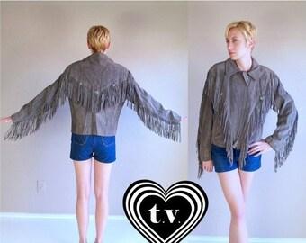 Sale vtg 70s GRAY suede leather Southwestern FRINGE COAT jacket Large hippie festival rocker