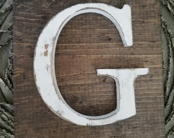 Wooden G Hanging Rustic letter sign- Wall hanging letter READY TO SHIP G