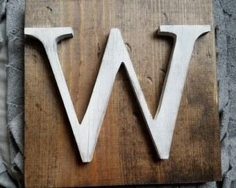Rustic Style White W Hanging Wood letter sign- Wall hanging letter READY TO SHIP W