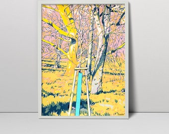Yound tree serigraph handmade screen print painting screenprint original artwork nature landscape yellow forest sunny park spring grass