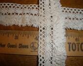 """Ecru Cluny Lace & Fringe trim 1 3/8"""" wide cotton"""