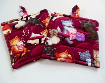 Pair of Two Fabric Potholders, Set of Two Quilted Potholders, Potholders, Kittens