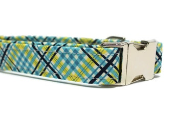 Blue and Yellow Plaid Dog Collar | Your choice of metal buckle or plastic buckle | Blue Dog Collar | Plaid Dog Collar | Yellow Dog Collar