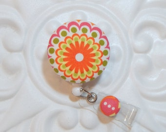 Badge Holder - Retractable Badge Holder - Id Badge Holder - Badge Lanyard - Yellow Orange Green Pink