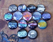 Doctor Who Logo Cabochons (L9) Jewelry Making Supply, Lot of 15 pieces, Sparkle Image Under Glass