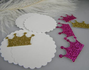 Reserved Listing / 200 white scallop circles and 200 glitter crowns / DIY Tags