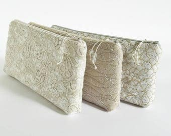 Nude Silver Gold Lace Clutch Special Event Wedding Purse for Bride Floral Cosmetic Pouch