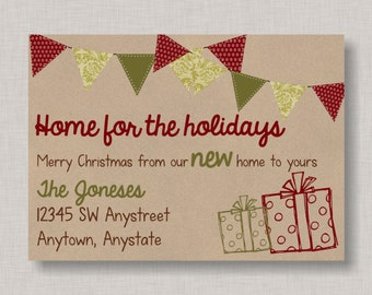 Christmas New Home Announcement, New Home Announcement, Moving Announcement, Christmas Card, Holiday Card