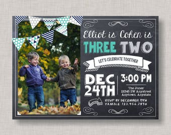 Sibling Birthday Invitation, Boy Birthday Invitation, Chalkboard Invitation, Bunting Invitation, Banner Invitation, Brother, Friend, Cousin