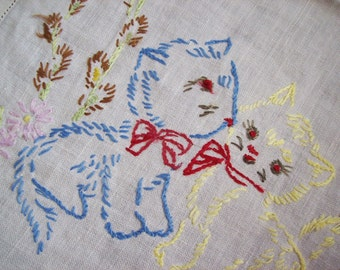 dresser runner, hemstitched linen dresser scarf, embroidered kittens