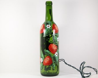 Wine Bottle Light Hand Painted With Strawberries, Green Red Kitchen Decor, Hostess Gift, Strawberry Art, Painted Strawberry, Fruit on Bottle
