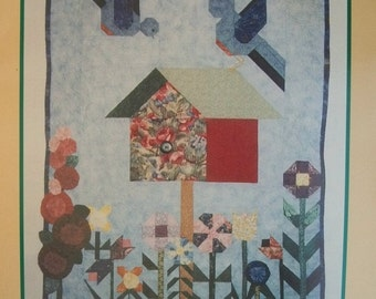 Quilt Pattern, Bird Quilt Pattern, Bluebird Mini Quilt, Birdhouse Quilt Pattern , Wall Hanging, Sewing Pattern, Wall Art, PATTERN ONLY