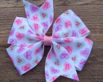Valentine's Day Bow~Conversation Heart Bow~Large Boutique Bow~Boutique Hair Bow~Large Pinwheel Bow~Large Valentine's Day Bow~Basic Hair Bow