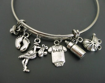 Mom to be Bangle / Expecting Mom / Baby Shower Bangle / Stork Bracelet / New Mother Bangle / Charm Bracelet / Adjustable Bangle / Expandable