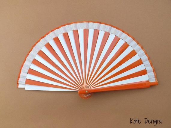 Orange and White Stripe Hand Fan