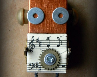 Robot Ornament - Music Bot - Upcycled Ornament - Hanging Decor by Jen Hardwick