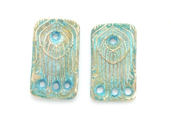 Rectangle Earring Dangles with 3 holes and Blue Patina