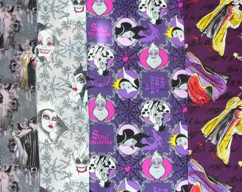Disney Villains, Female Villains, 4 Fat Quarters, Cruella Deville, Maleficent, Ursula, Queen Stepmother, Villains fabric