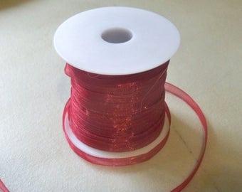 """Burgundy Organza Ribbon-1/4""""-10 YDS"""