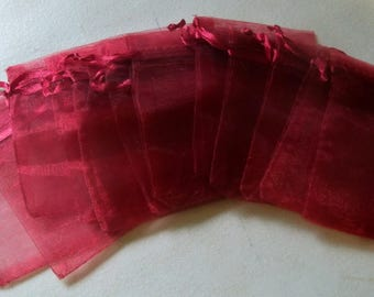 "Red Wine Organza Bags-7cm X 9cm (2.7"" x 3.5"")-12 PCS."