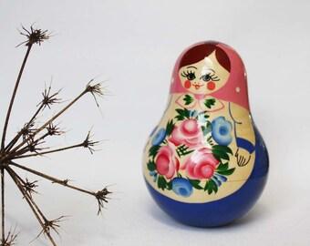 A cute 'Musical' Vintage Matryoshka Doll. Ornamental Wooden Russian Doll. Folk Home Decor. Nursery Decor