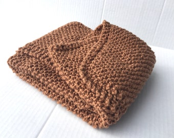 Organic cotton baby blanket, brown hand knitted