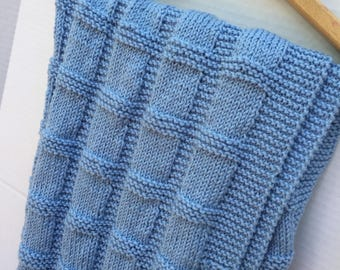 Wool baby blanket blue hand knitted