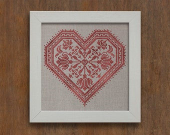 INSTANT DOWNLOAD Flowering Heart Valentine's Day PDF cross stitch patterns by Modern Folk at thecottageneedle.com monochromatic