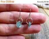 Shop Small Sale Roman Glass Dangle Earrings // Teal Earrings // Turquoise Earrings // Ruins // Antiquities // Simple // Delicate // Glass Ea