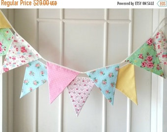 ON SALE Sweet Shabby Chic Fabric Banners, Bunting, Garland, Wedding Bunting, Pennants, Flags, Pink, Yellow, Green, Blue - 3 yards