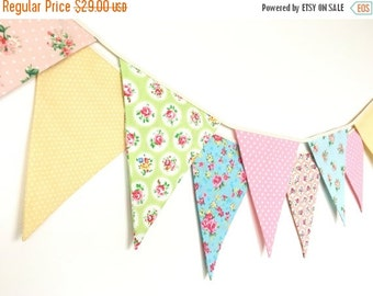 ON SALE Sweet Baby Fabric Banners, Bunting, Garland, Wedding Bunting, Pennants, Flags, Pink, Yellow, Green, Blue, Peach - 3 yards