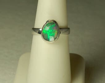 Opal Ring, Size 7.5, Rainbow Colors, Faceted Opal, Sterling Silver, October Birthstone, Ethiopian Opal, Natural Opal, Welo Opal Ring