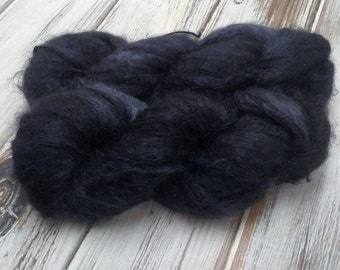Semi Solid Black 1.75oz 50g 546yds Lace Yarn Kid Mohair Mulberry Silk Kidsilk Plying Thread