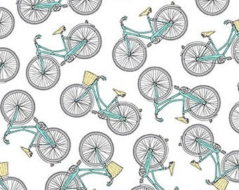 Northcott Fabrics - Bicycles on White - Hipster on the Go - Tiny Treasures - By Deborah Edwards - By The Yard