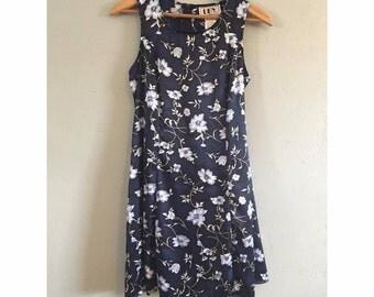 90s Navy Satin Like Floral Dress