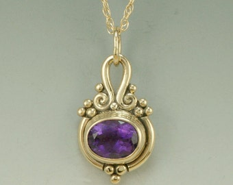 P528- 14k Yellow Gold Amethyst Pendant- One of a kind