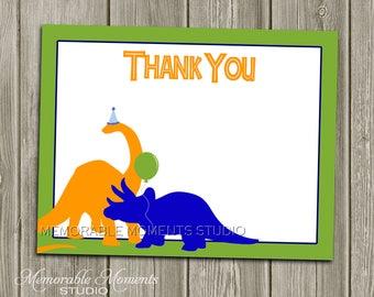 """INSTANT DOWNLOAD - Printable 5.5""""x4.25"""" flat Thank You Cards - Dinosaurs - Memorable Moments"""