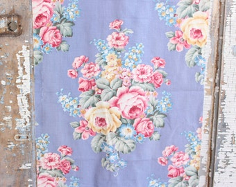Cottage Chic Pink Cabbage Rose Vintage Periwinkle  Blue Fabric Panel