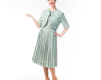 1950's Plaid Day Dress Set with Jacket/ 50's Pleated Jean Lang Dress XL
