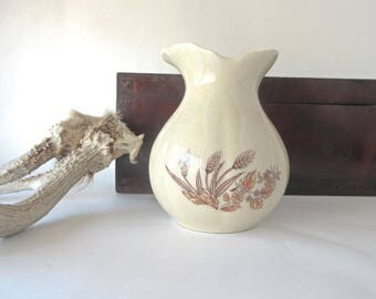 Vintage China Toothbrush Holder Transfer Ware Farmhouse Prairie Style Vase