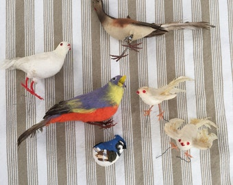 6 Vintage Birds For Your Crafts Or Wreaths  Trees White Doves