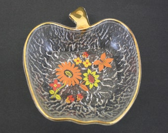 Vintage Glass Apple Bowls with Floral Decals, Set of 5 (E8169)