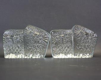 Vintage Don Shepherd for Blenko Icefloe Glass Owl Bookends (E8465)