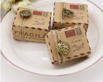 Travel Theme Party Favor Boxes with Globe Charm + Jute Cord - Kraft Gift Box - Kraft Boxes - Rustic Wedding Decor Set of 20