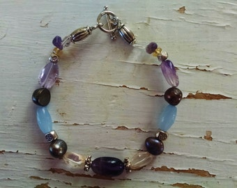 Amethyst citrine bracelet, amethyst, citrine, silver, freshwater pearl beaded bracelet