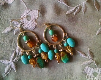 Silver turquoise citrine earrings, silver hoop chandelier earrings with citrine and turquoise
