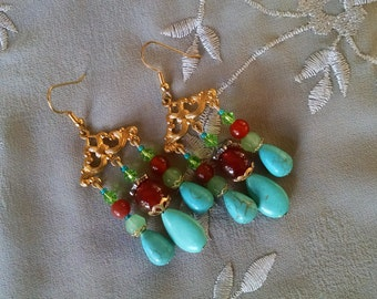 Colorful chandelier earrings, Bohemian gypsy long gold turquoise red agate green chandelier earrings