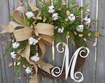 cotton wreath cotton burlap wreath cotton decor spring wreath year round wreath