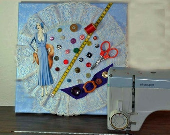 Mixed media, wall decor, wall art, seamstress gift, collage, wall hanging, shelf decor, button collection, blue, white